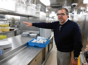 CEO Frank Del Rio shows us the pristine galley for Jacques Restaurant. Picture: Caroline Hurry