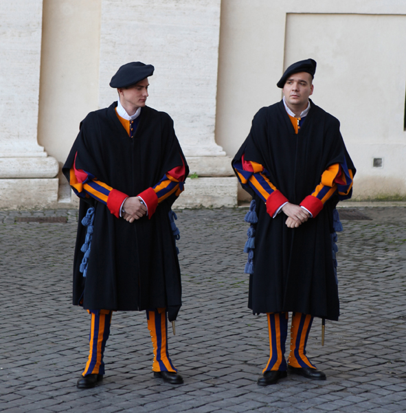 Camp Swiss Guard uniforms at the Vatican. Picture: Peter Berg-Munch.