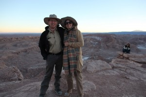 The writer and her husband enjoying the lunar valley at sunset