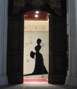 Shadow of an empress  –  the entrance to the Sisi Museum.