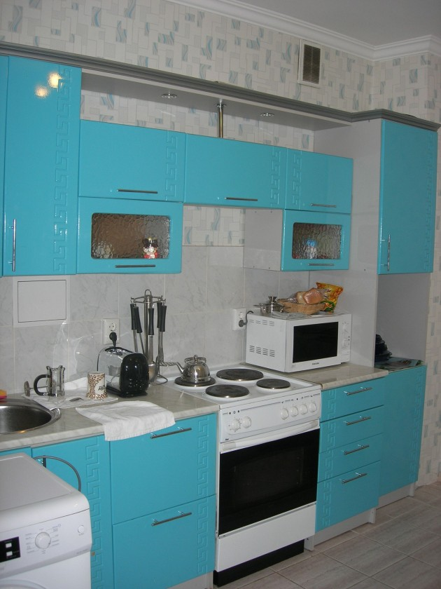 Nothing like coming home to an electric Kool-Aid acid inspired kitchen after a hard day's work at the gulag.