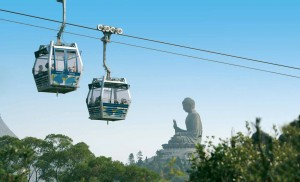 The cable car is another means of public transport in Hong Kong.