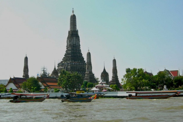 The Temple of the Dawn, or Wat Arun, the most photographed spiritual edifice on the banks of the Chao Praya River in Thailand's capital Bangkok.