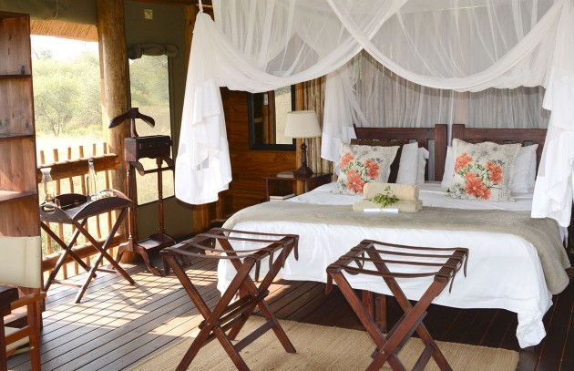 Our bed at NThambo Tree Camp.