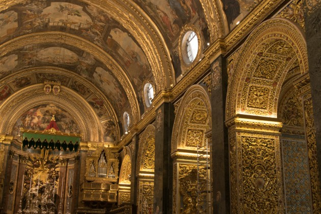 The gilded vault of St John's Co-Cathedral in Valletta.