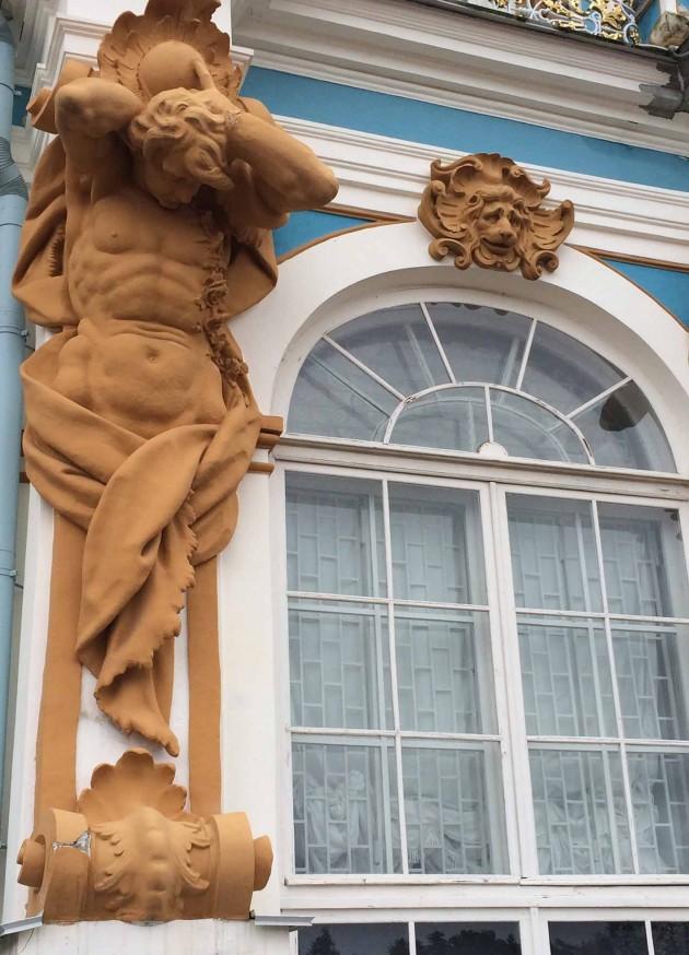 Close up of a pilaster designed by German sculptor Johann Franz Dunker,.
