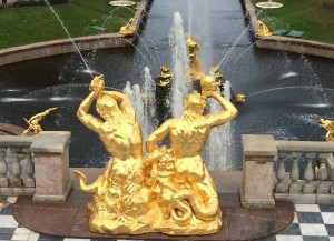 Gold statues at Peterhof.