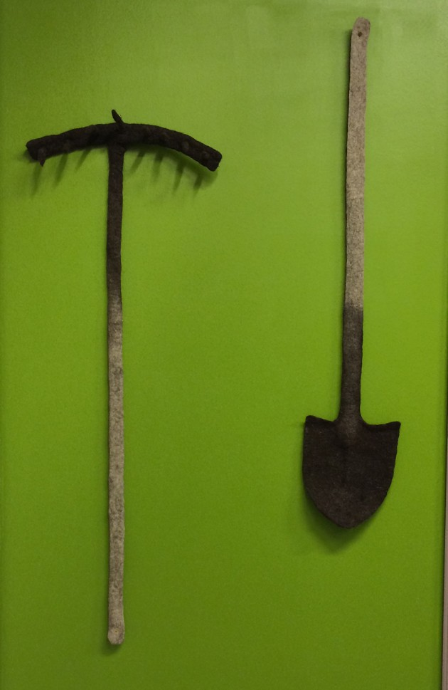 "Alexander Pilin is an artist, who works with felt, associated with old traditions and tactile experiences such as this example entitled Shovel, from 2005. His felt rake and ""the warmest shovel in the world"", created 20 years after the end of the Soviet civilization, turns a depressing reality into a fluffy conceptual toy that is no longer terrible, but still full of multiple meanings."