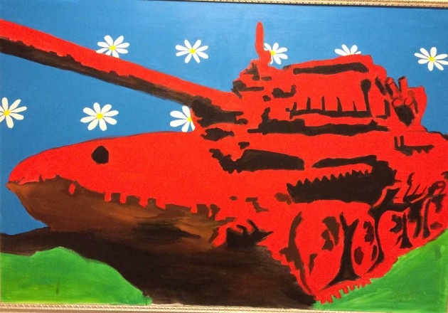 A work from Aleksandr Frolov's Tank From Dinosaurs series –acrylic on canvas