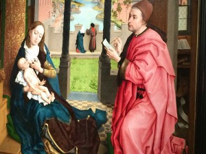 Rogier van der Weyden in about 1435-40 shows the Virgin tenderly feeding her child while she poses for her portrait by St Luke. Picture: Caroline Hurry