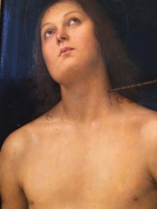 Saint Sebastian by Pietro Perugino, Perugino, the leading Umbrian artist of the late 15th century. On the arrow which projects from the saint's neck the artist painted his name in gold letters.