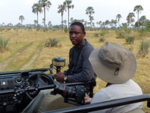 Onks Letsholathebe taking guests on a game drive.