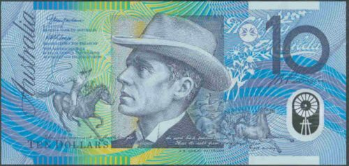 Banjo Paterson's image on the Australian $10 note, with a picture inspired by The Man From Snowy River.