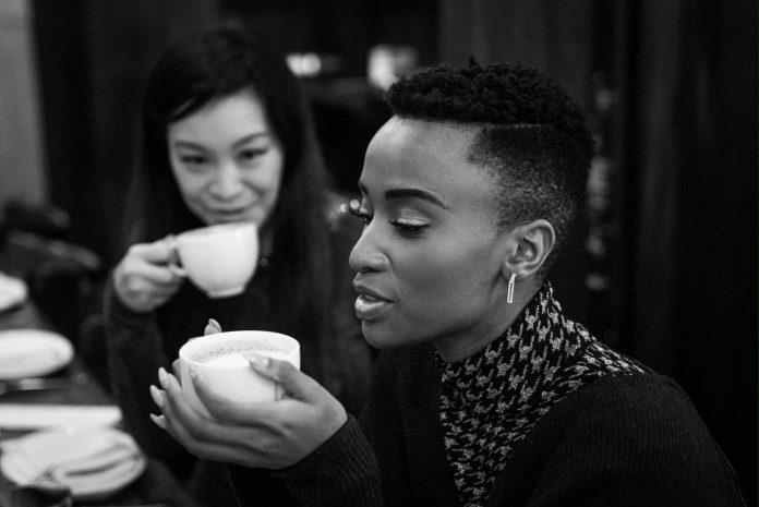 Miss Universe 2019 Zozibini Tunzi and Jen Su at a New York café. The beauty queen enjoys sipping on hot chocolate to keep warm during the winter chill. Photo: Hunter Peress.